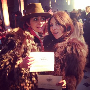 Lily and I backstage at Viviene Westwood...smiling naturally
