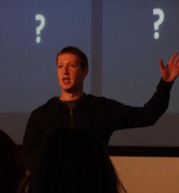 Facebook CEO Mark Zuckerberg explaining new search feature (Photo: Larry Magid)