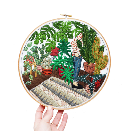 Sarah K. Benning, plantes et cactées en broderie