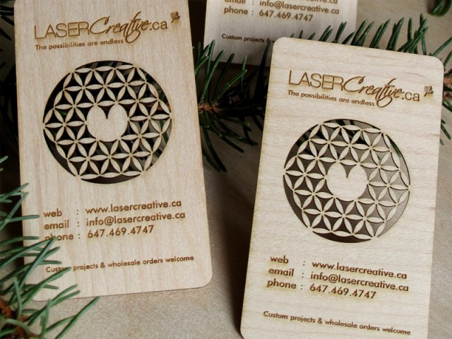 Laser Cut Wood Business Cards