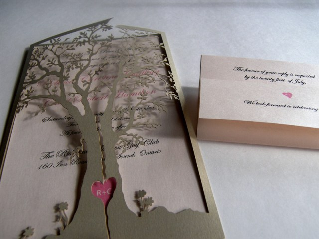 Love tree laser cut wedding invitation and reply card, both sides closed - detail