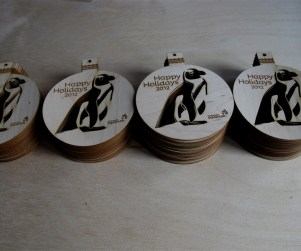 Custom laser cut wood Christmas tree ornaments for the Vancouver Aquarium