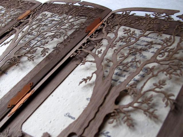 Walnut wood custom 'Love Tree' laser cut wedding invitations