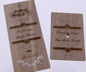 Walnut laser cut wedding invitations