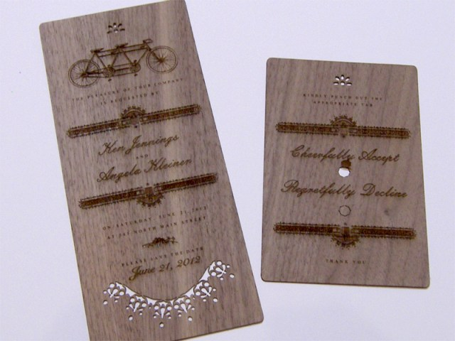 Laser cut walnut wood wedding invitations