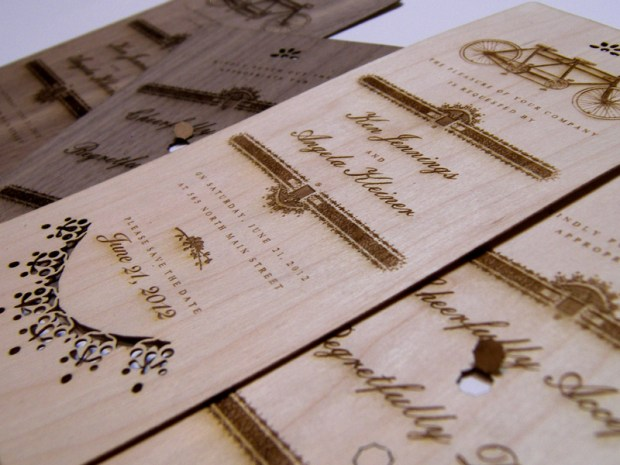 Maple and walnut wedding invitations - another angle