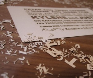 Fontography inspired laser cut invites angle shot