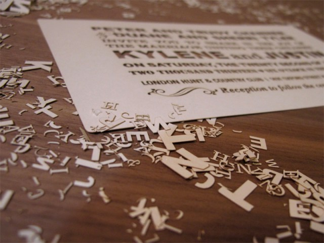 Second picture of Custom Fontography design laser cut wedding invitations