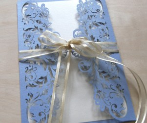 periwinkle blue french flair laser cut wedding invitations