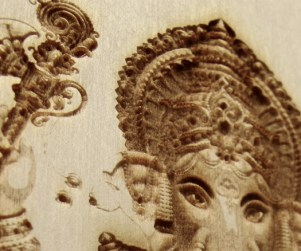 laser engraved ganesha wall hanging detail