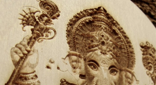 Ganesha laser engraved wood wall hanging