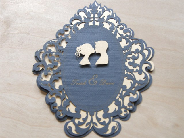 Lovers cameo laser cut wedding invitations