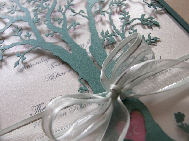 Love Tree laser cut wedding invitation detail in brown and green