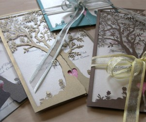Love Tree laser cut wedding invitations in different colours