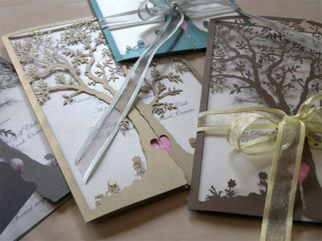 Love Tree laser cut wedding invitation in various colours