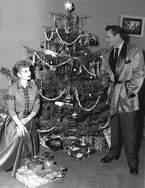 lucy with christmas tree