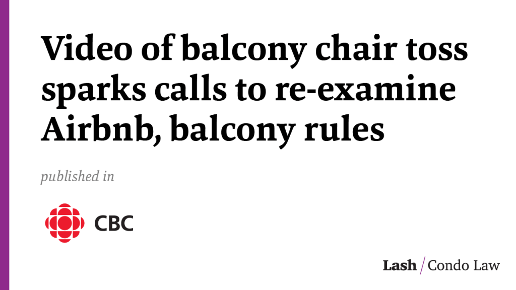 Video of balcony chair toss sparks calls to re-examine Airbnb, balcony rules in Toronto