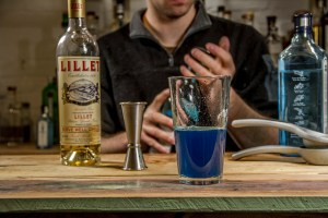 Blue Curacao Cocktail - mixing the base