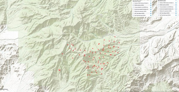 Hot Spot Map Carpenter Fire 1- Mt Charleston July 6, 2013 10:15 pm PST - Click to view Large Map