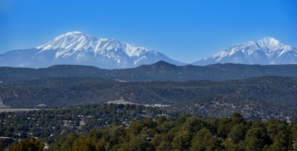 Front range of the Rockies, south of Denver. Residential and commercial property crowd into the front range.