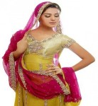 Shocking Pink and Yellow Bridal Mehndi Dress