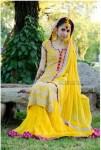 yellow bridal mehndi makeup