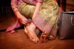 Golden bridal shoes