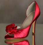 Red dress bridal shoes