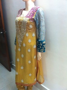 Yellow dresses with pink dupatta