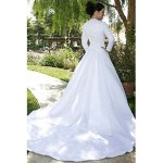 arabic white satin long sleeve bridal gown