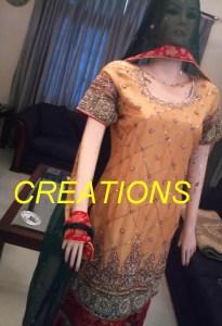 red and yellow mehndi dress