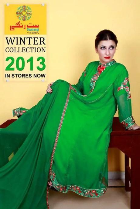 Barira Green Winter Dress for Pakistani Women