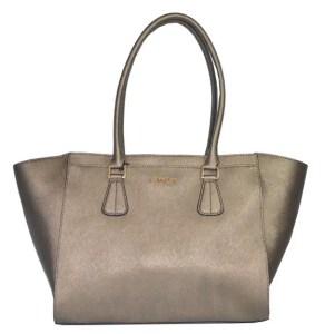 Calvin Klein Bag Metallic Saffiano Bronze Leather Handbag CK Purse