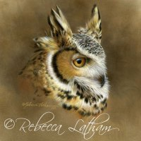 Watercolor Portrait - Great Horned Owl In Miniature