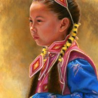 Young Native American Girl Portrait in Miniature