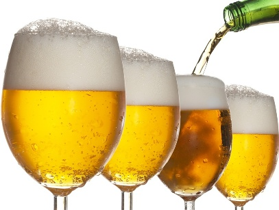 Pouring beer into four glasses with white background