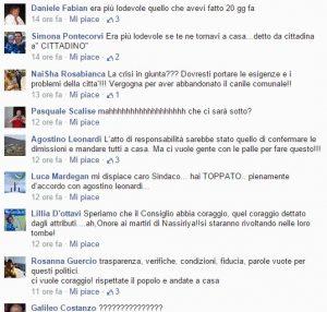Alcuni commenti sulla pagina Facebook di Giovanni Di Giorgi