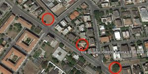 I cerchi in rosso indicano i tre nuovi palazzi in via Quarto