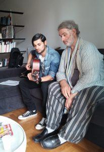 Andrea Del Monte con il poeta Antonio Veneziani