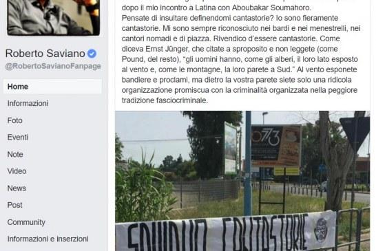 "Saviano sbeffeggia Casapound Latina: ""Aspiranti fascistelli"""