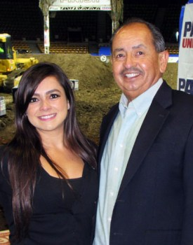 Andrea Ocampo with Joe Contreras, Latin Life Denver for Arena Motor Cross Weekend.