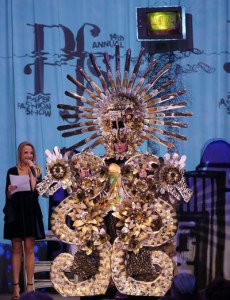 "Mojardin won the grand prize with his creation ""Aztec Princess"" modeled by Itzel Gonzalez. The design was as made entirely, 100%,  paper and we tell the story of Quetzalcuatl, the feathered serpent. Photo by Jonathan Garcia"