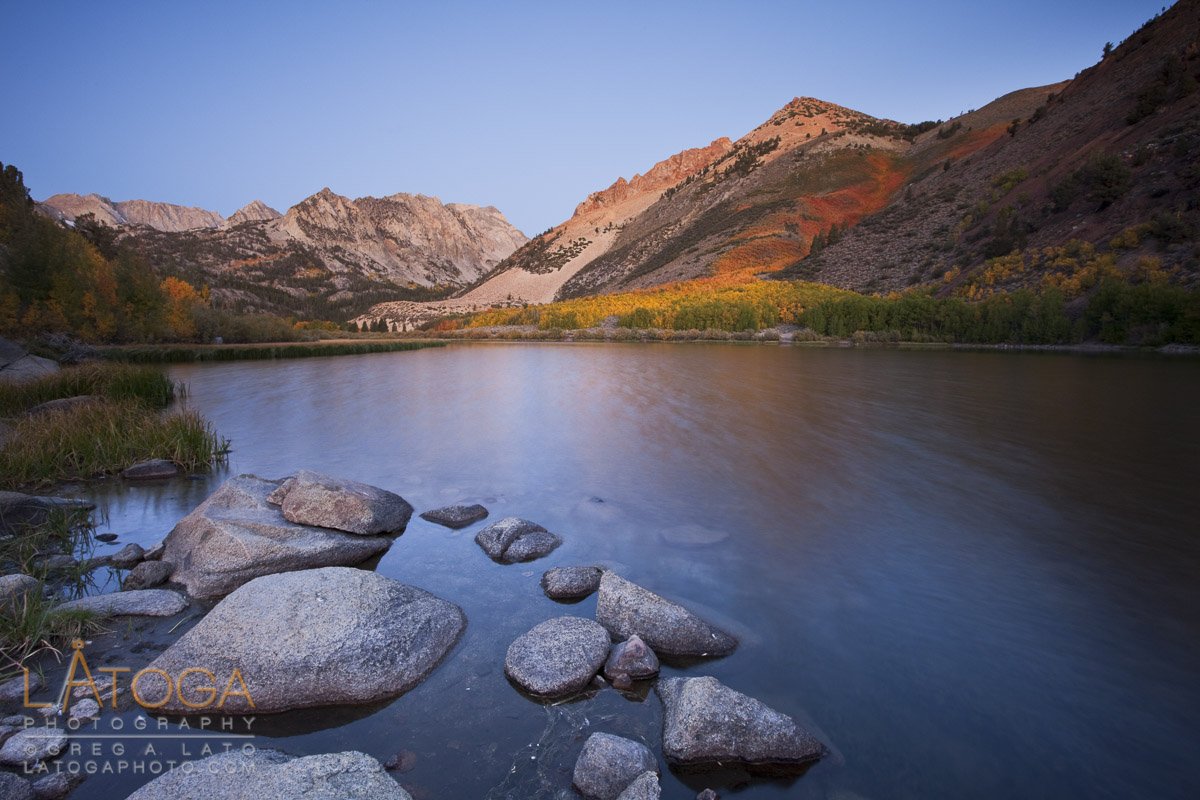 Early Morning Alpine Glow on Autmn Color along North Lake
