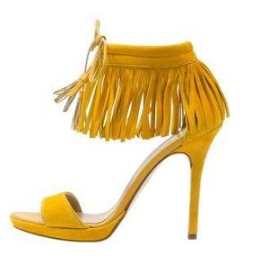 Chaussures à franges jaune moutarde - Zalando