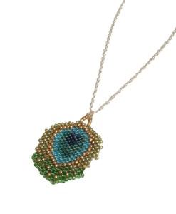 collier bijoux fait main plume de paon