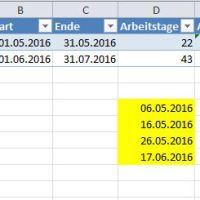 Anzahl der Arbeitstage berechnen mit Excel