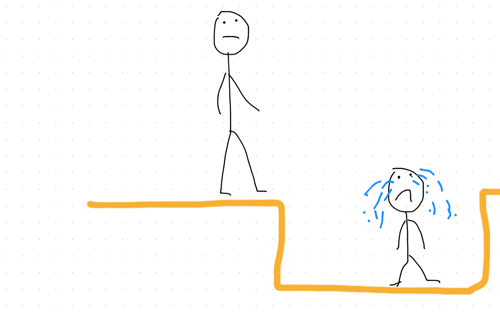 when our children feel sad - parent looking at child stuck in hole stickman drawing