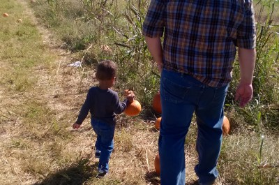 Father & son at the pumpkin patch