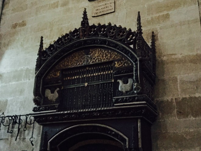 Holy hen and rooster cage in the cathedral of Santo Domingo De Calzada
