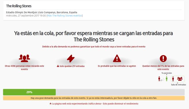 Página de carga de una consulta sobre entradas para el concierto de los Rolling Stones en Barcelona (viagogo)